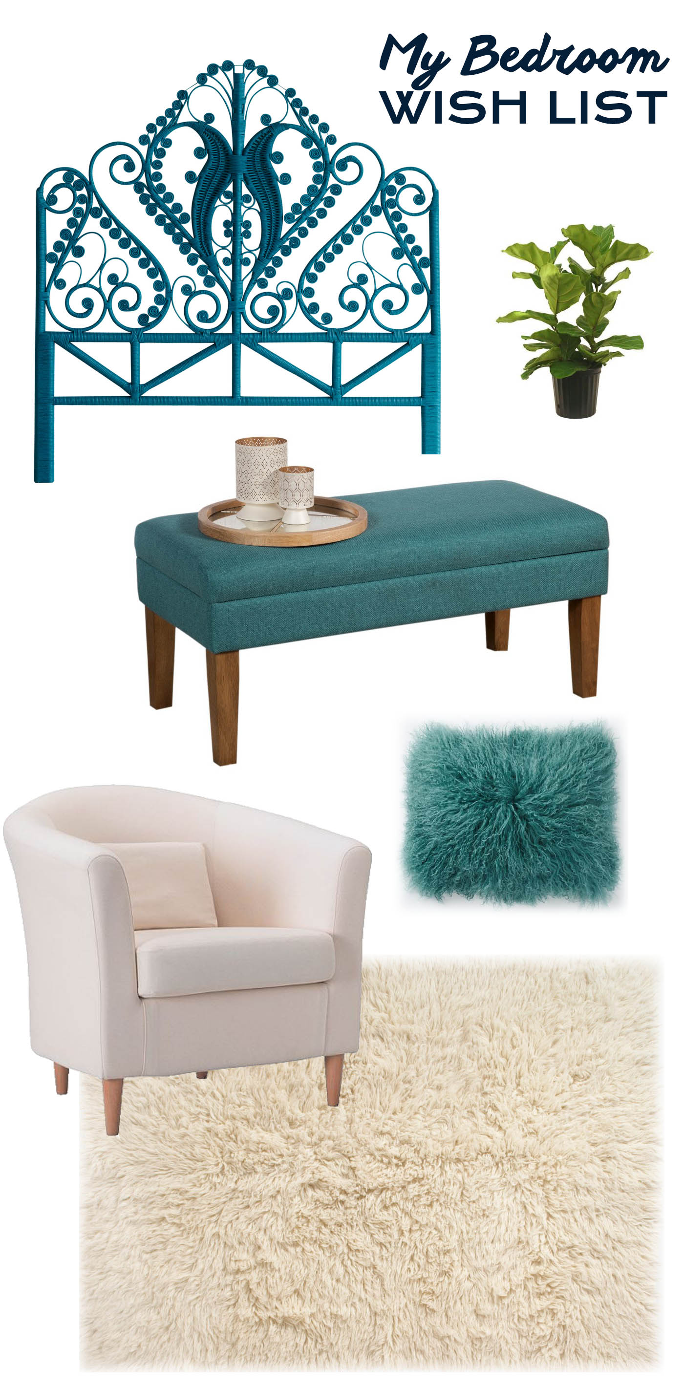 My Bedroom Wish List. Featuring a teal peacock bed, white flokati rug, teal storage bench, fiddle leaf fig tree, white chair, and a Mongolian fur pillow.
