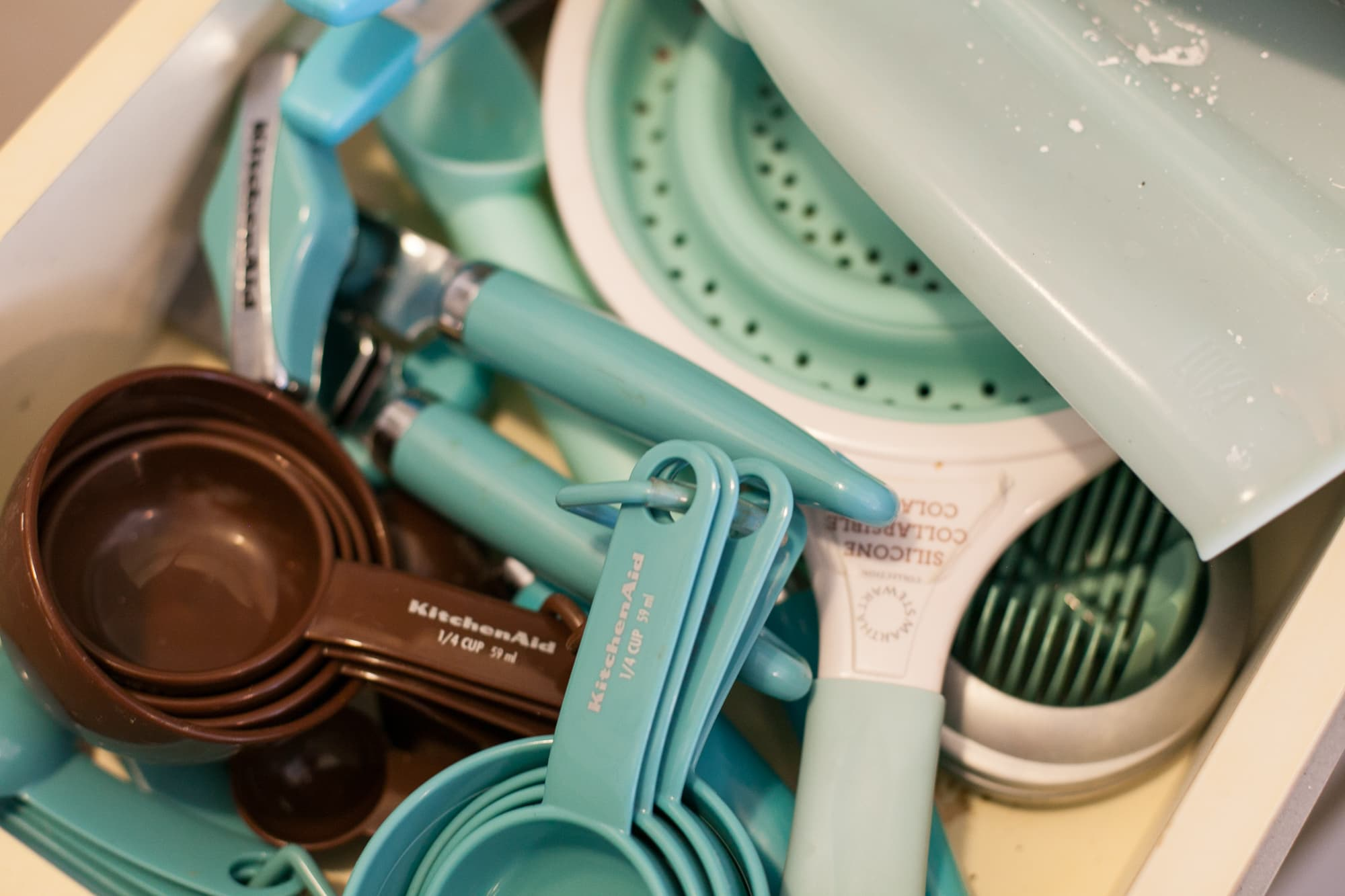 Even all my kitchen gadgets are teal.