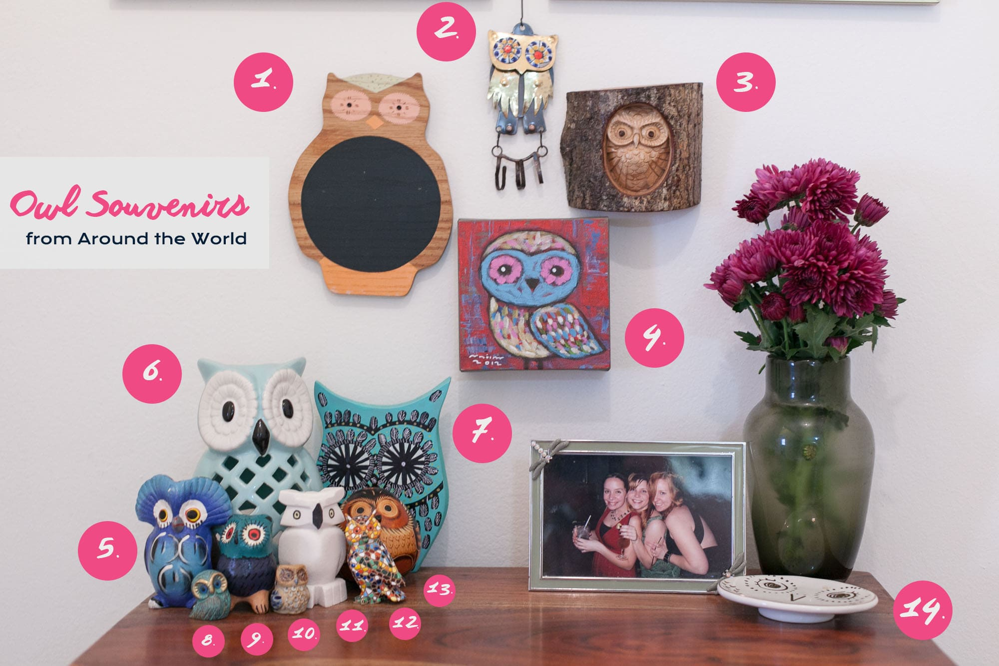 Collection of owl souvenirs from around the world.