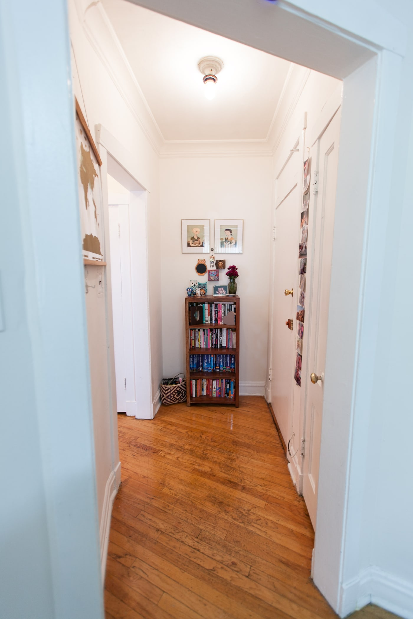 My hallway and my bookcase.