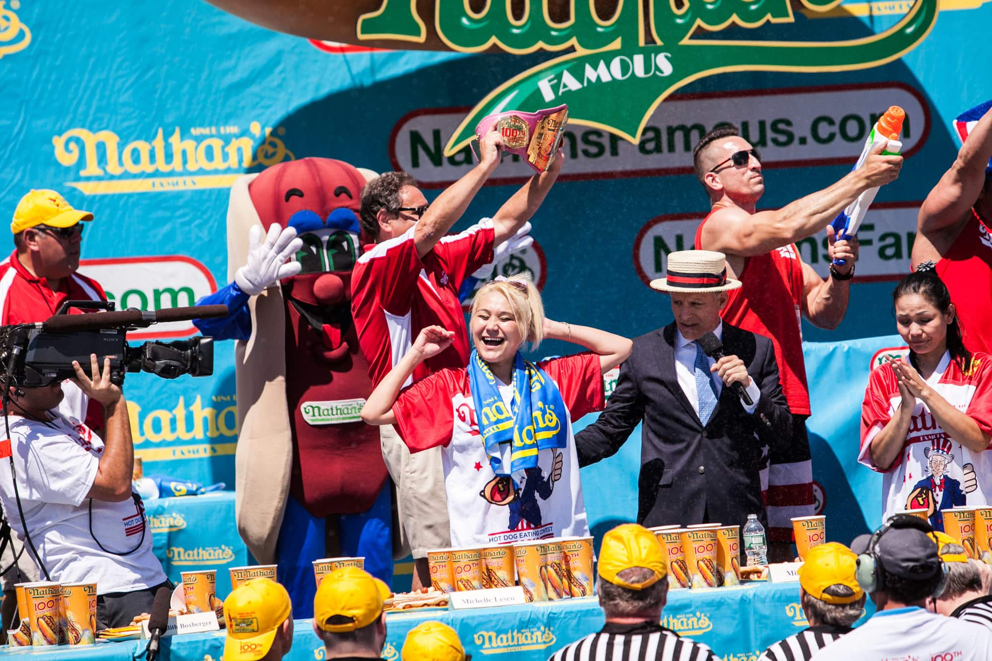 Miki Sudo wins the women's competition at the 2016 Nathan's Famous Fourth of July hot dog eating contest at Coney Island.