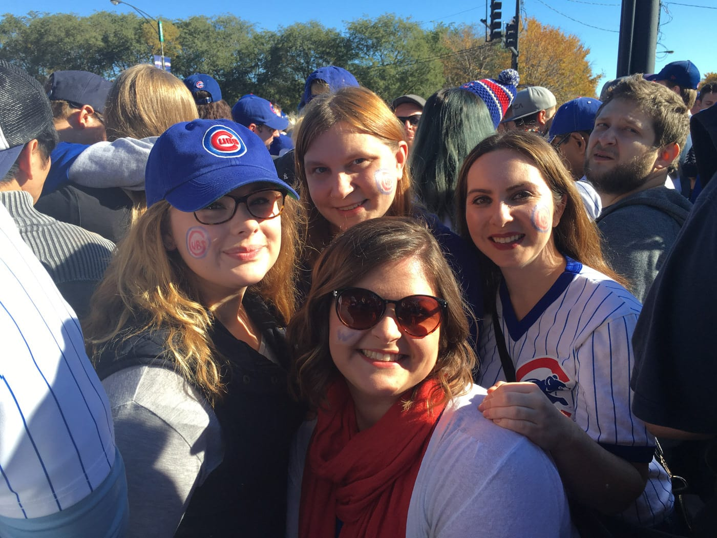 My friends and I at the Cubs victory parade.