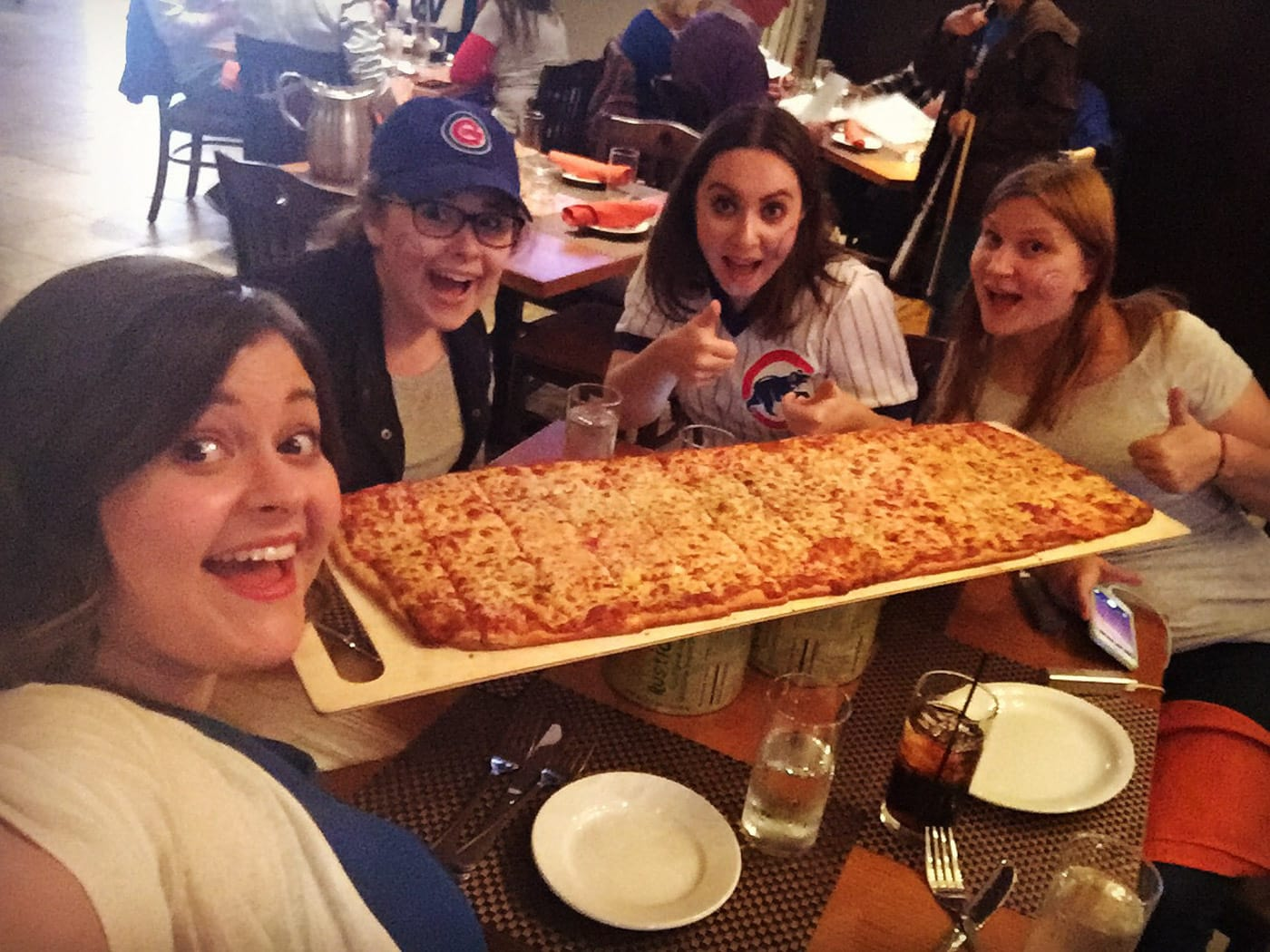 Giant pizza after the Cubs parade.