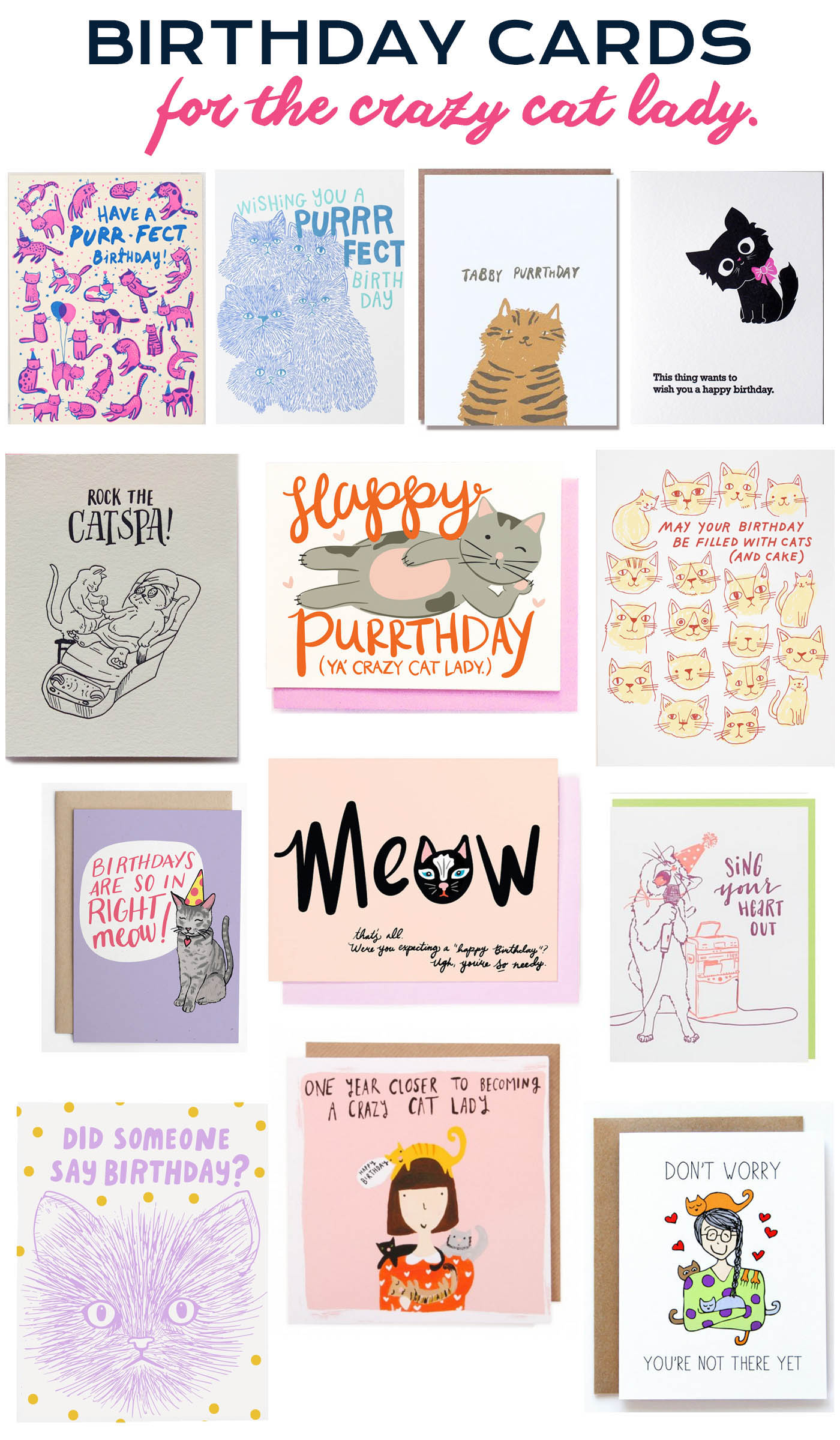 Birthday cards for the crazy cat lady.