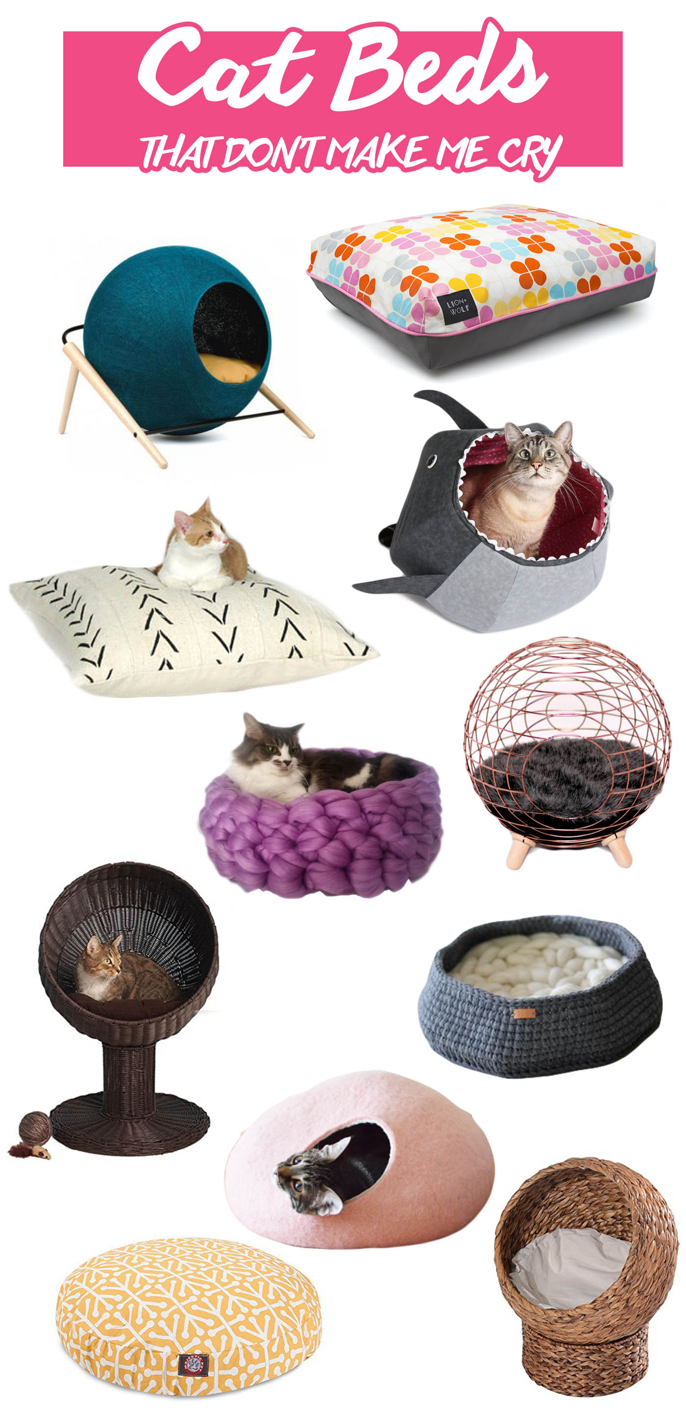 Modern cat beds that don't make me cry. | Unique cat beds that won't clash with your decor. | Modern Cat Supplies that Don't Make Me Cry