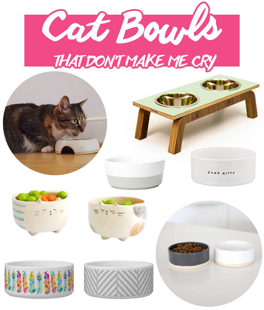 Modern cat bowls that don't make me cry. | Unique cat food and water bowls that won't clash with your decor. | Modern Cat Supplies that Don't Make Me Cry