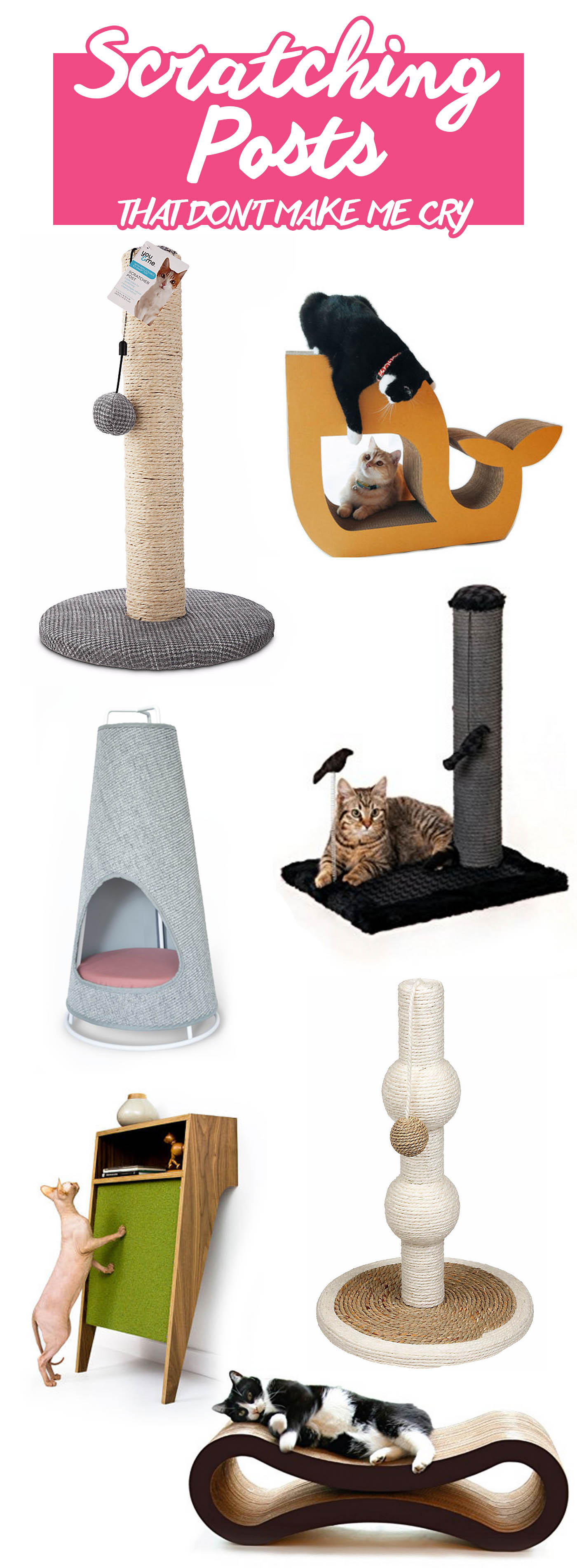 Modern cat scratching posts that don't make me cry. | Unique scratching posts that won't clash with your decor. | Modern Cat Supplies that Don't Make Me Cry