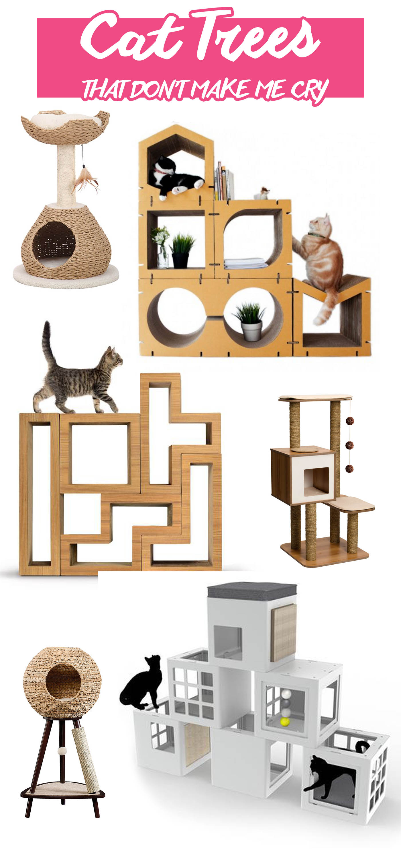 Modern cat trees that don't make me cry. | Unique climbing trees for cats that won't clash with your decor. | Modern Cat Supplies that Don't Make Me Cry