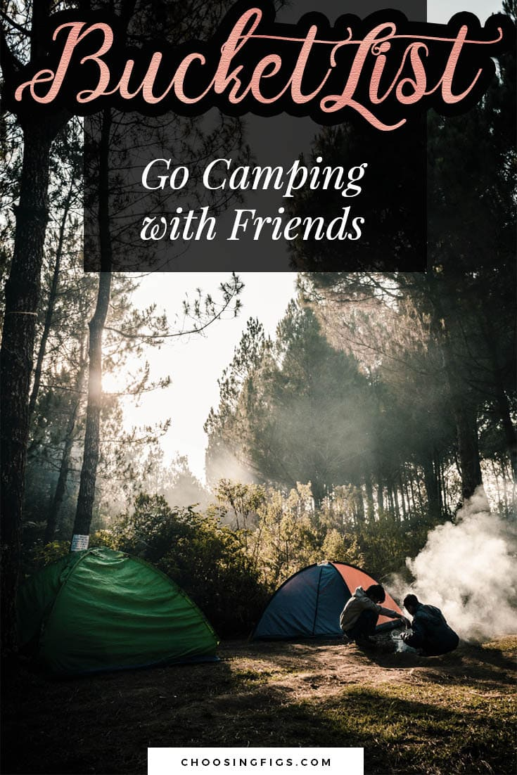 BUCKET LIST IDEAS: Go camping with friends.