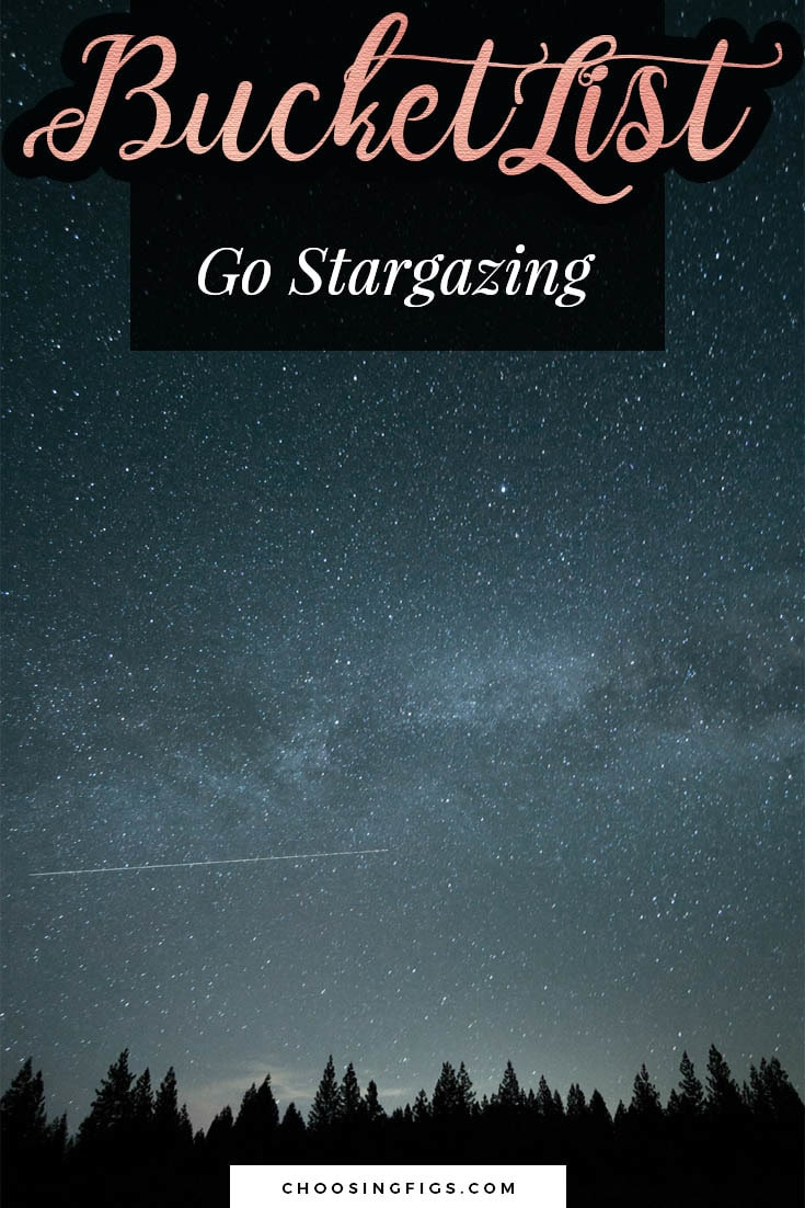 BUCKET LIST IDEAS: Go stargazing.