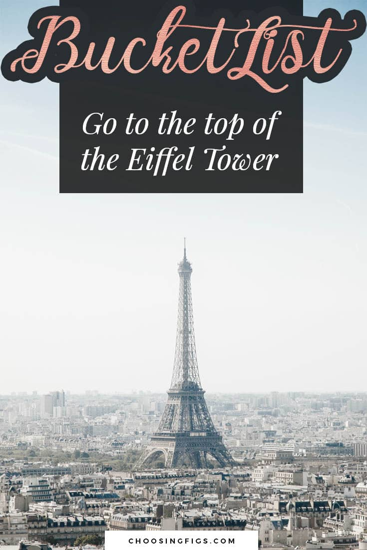 BUCKET LIST IDEAS: Go to the top of the Eiffel Tower.