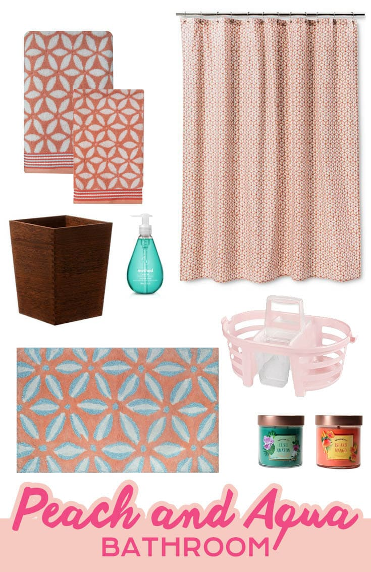 Peach and Aqua Bathroom featuring Threshold Shapes Shower Curtain in Peach, matching towels and bath mat, candles, and more.
