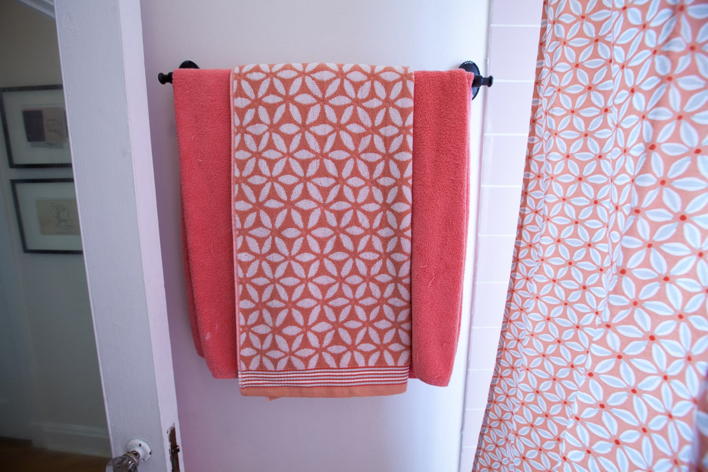 New pink and blue shower curtain and towels for my pink bathroom.