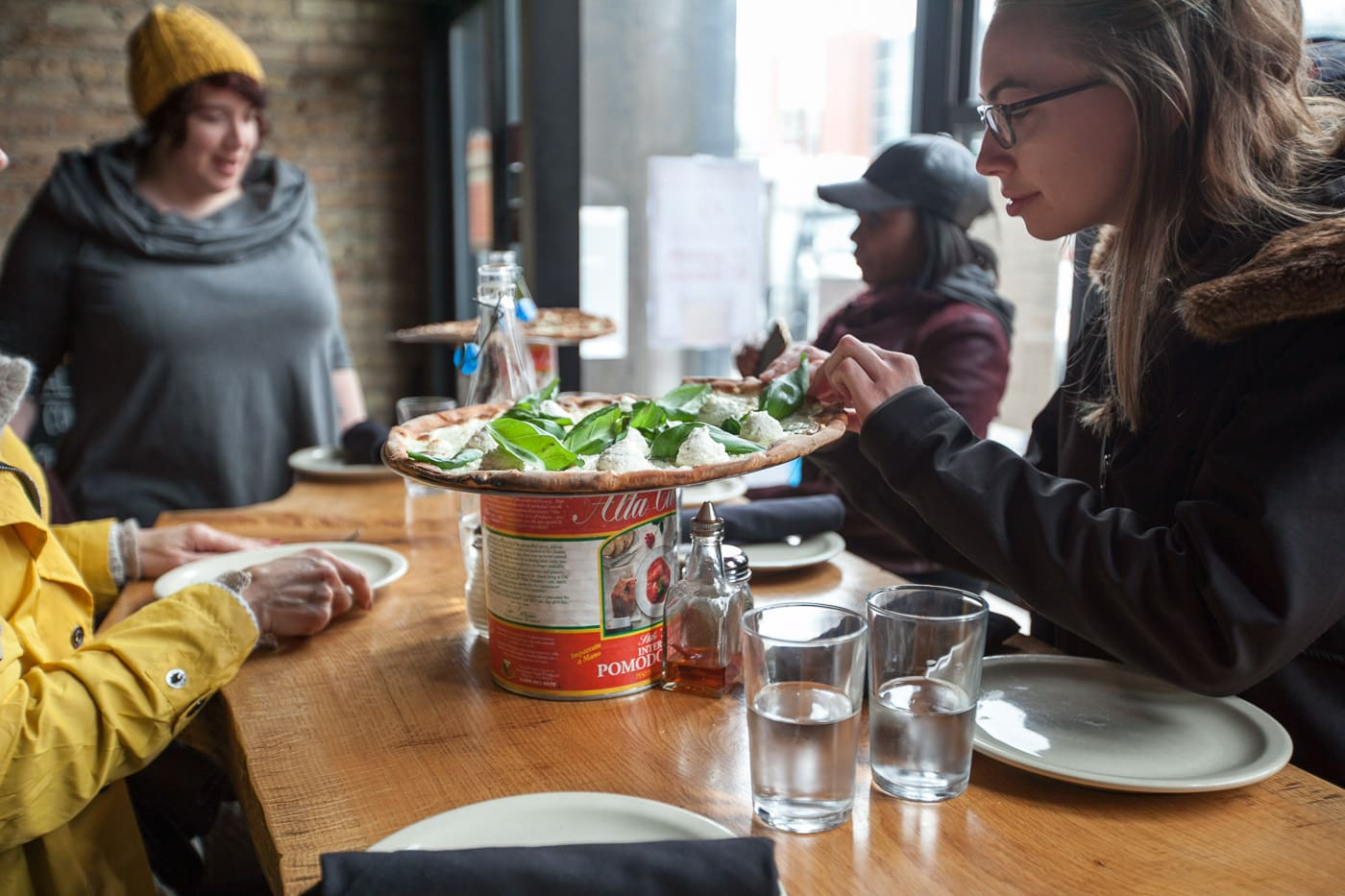 Pizza tour of Chicago with Chicago Pizza Tours - White ​Pizza with mozzarella, ​garlic, ​evoo, ​oregano, ​basil, and whipped ​ricotta at Coalfire Pizza in Chicago