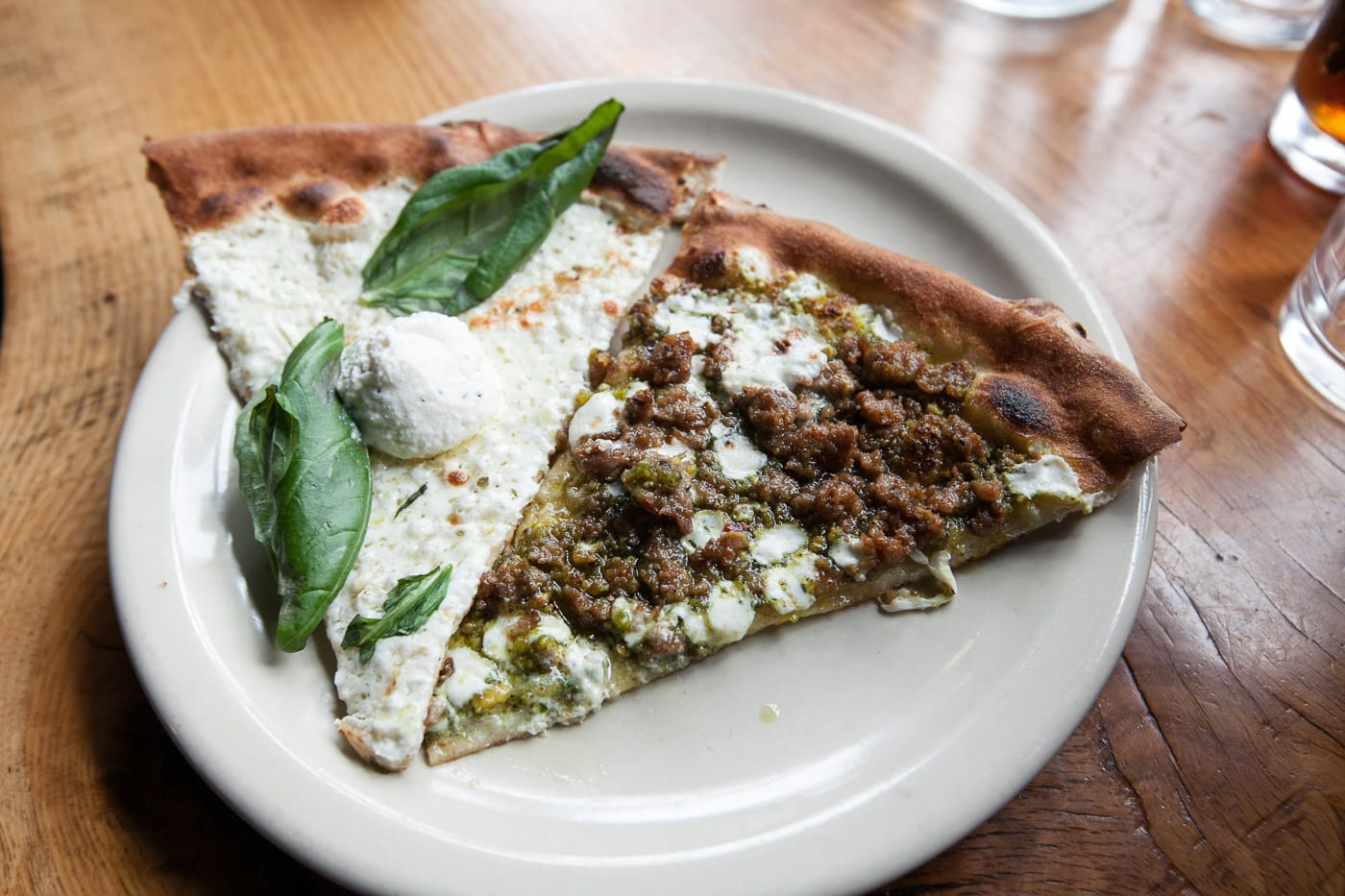 Pizza tour of Chicago with Chicago Pizza Tours - White ​Pizza and Pistachio ​Pesto ​pizza at Coalfire Pizza in Chicago