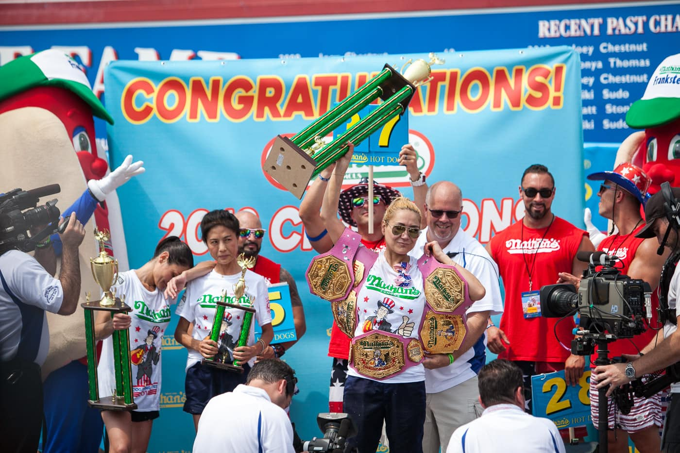 Miki Sudo wins the 2018 Nathan's Famous hot dog eating contest on the Fourth of July at Coney Island in Brooklyn, New York.