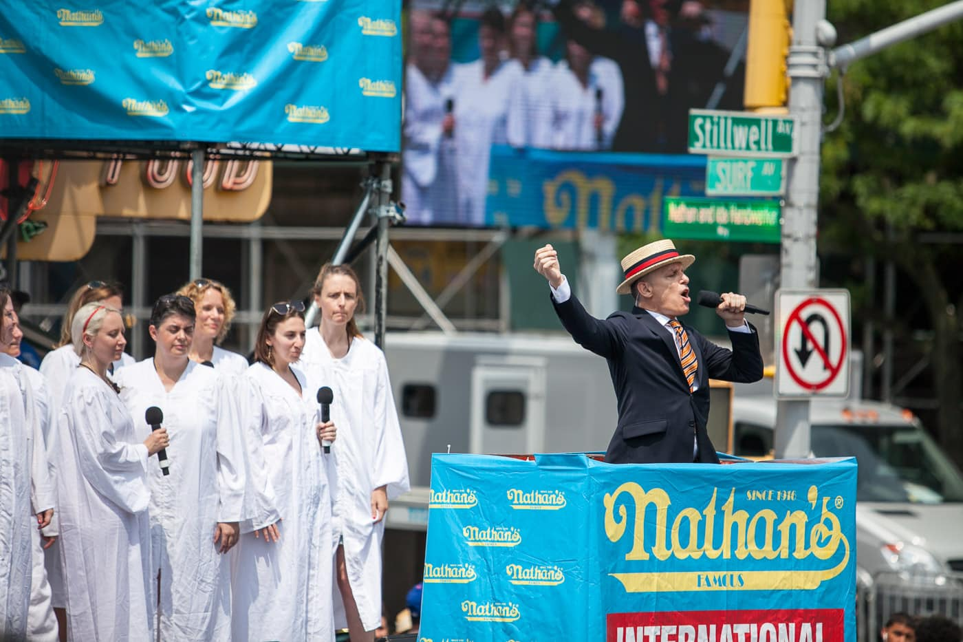 George Shea announces the 2018 Nathan's Famous hot dog eating contest on the Fourth of July at Coney Island in Brooklyn, New York.