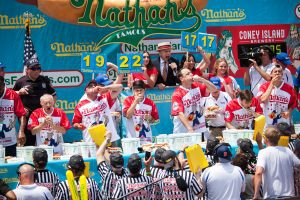 Joey Chestnut wins the 2018 Nathan's Famous hot dog eating contest on the Fourth of July at Coney Island in Brooklyn, New York.Joey Chestnut wins the 2018 Nathan's Famous hot dog eating contest on the Fourth of July at Coney Island in Brooklyn, New York.