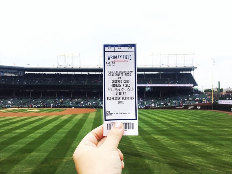 My ticket for a cubs game at Wrigley Field. Chicago Cubs vs. Cincinnati Reds.