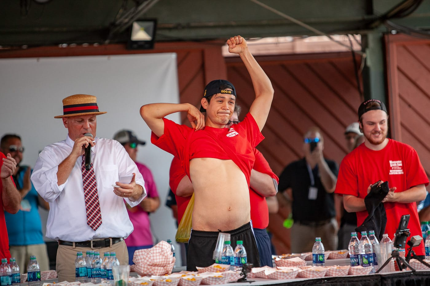 Darron Breeden wins the Wisconsin State Fair World Cheese Curd Eating Championship