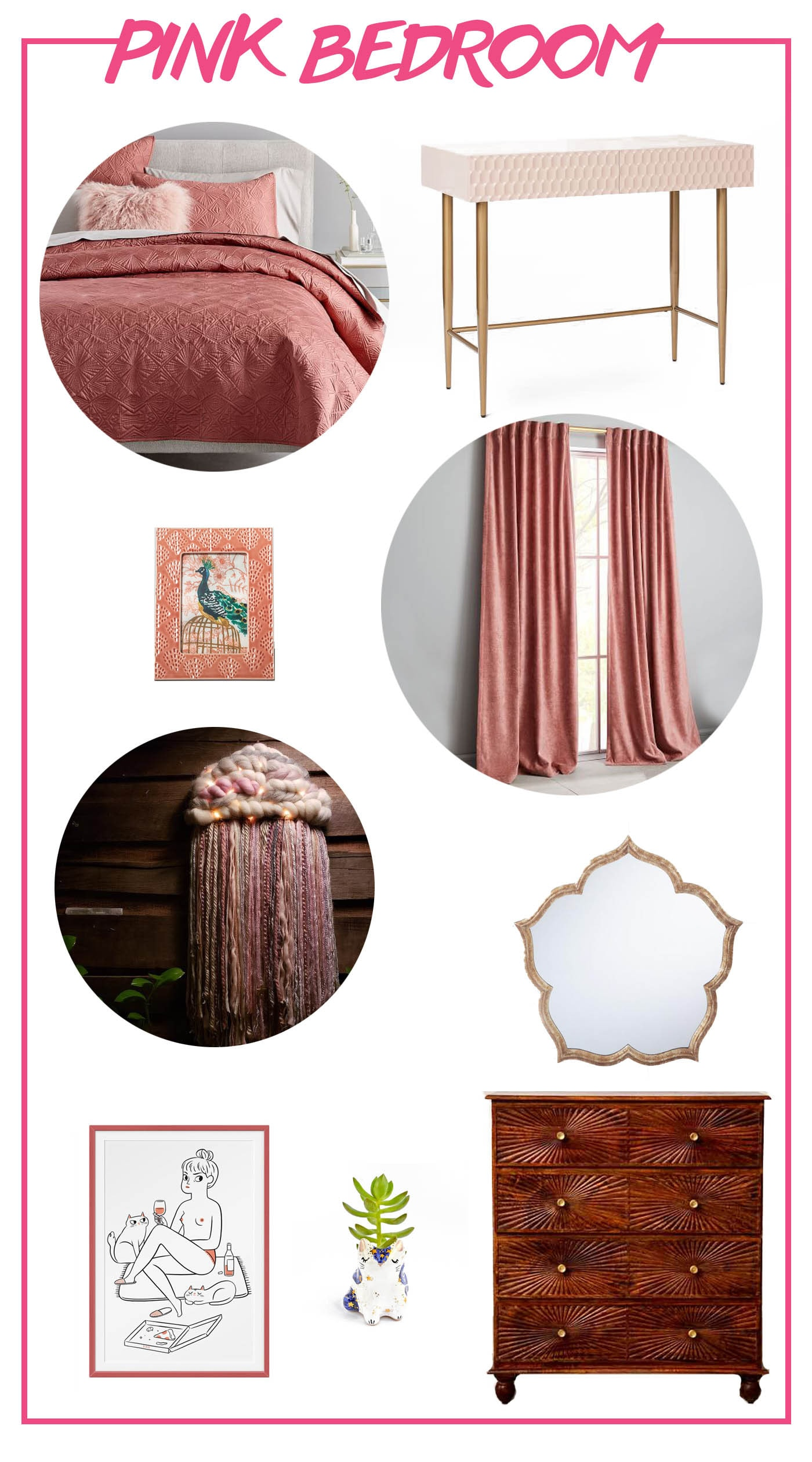 Wish list for a pink bedroom with a West Elm pink quilt and curtains, blush pink desk, and matching accessories and furniture.
