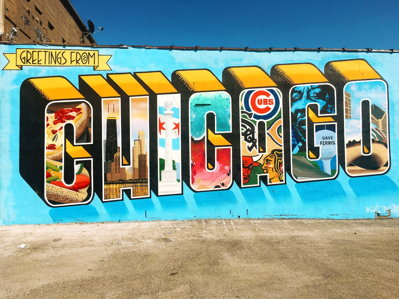 Greetings from Chicago Mural in Logan Square.