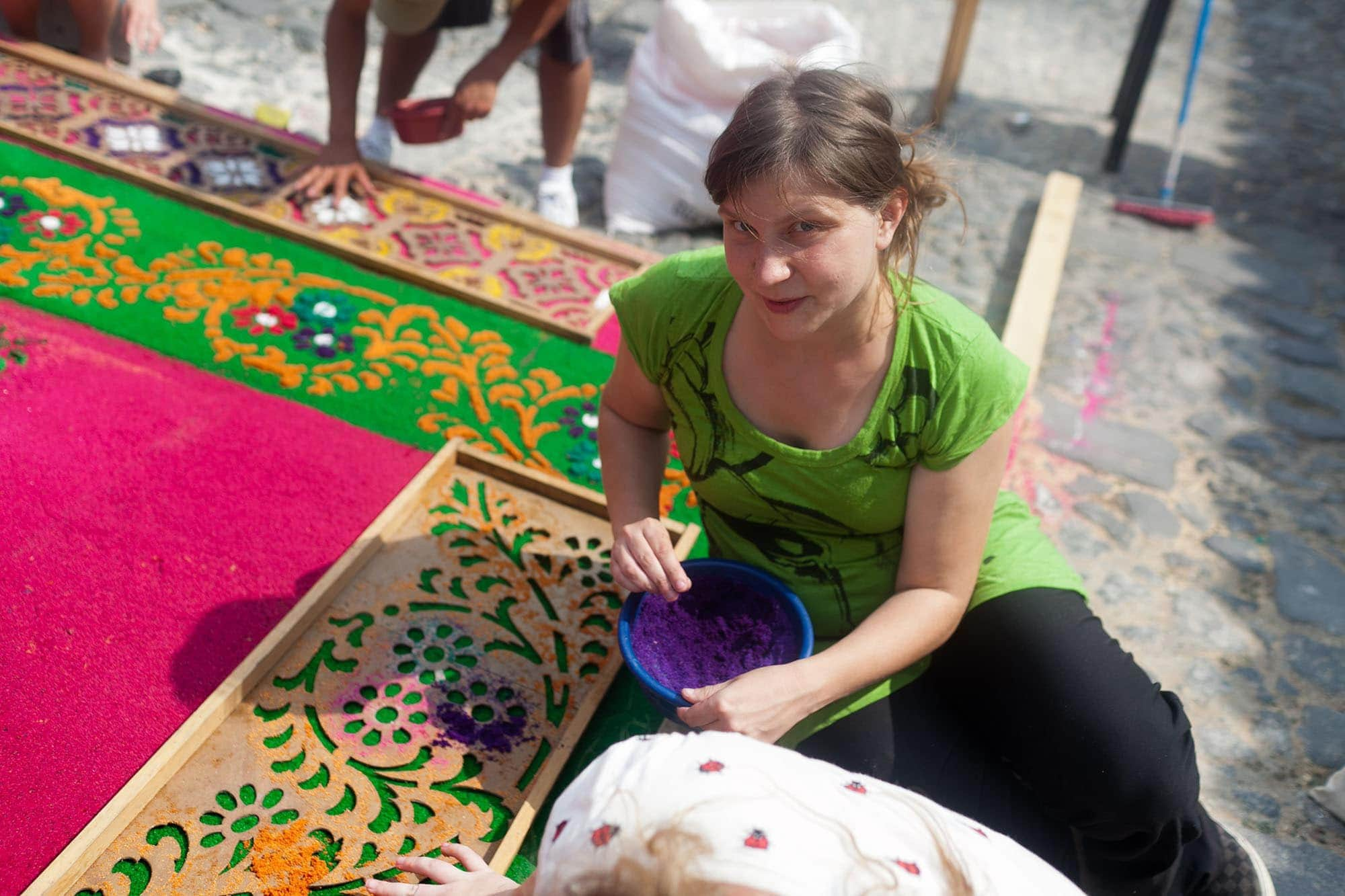 I made an alfombra for Semana Santa in Guatemala. | 38 things I've done in my life.