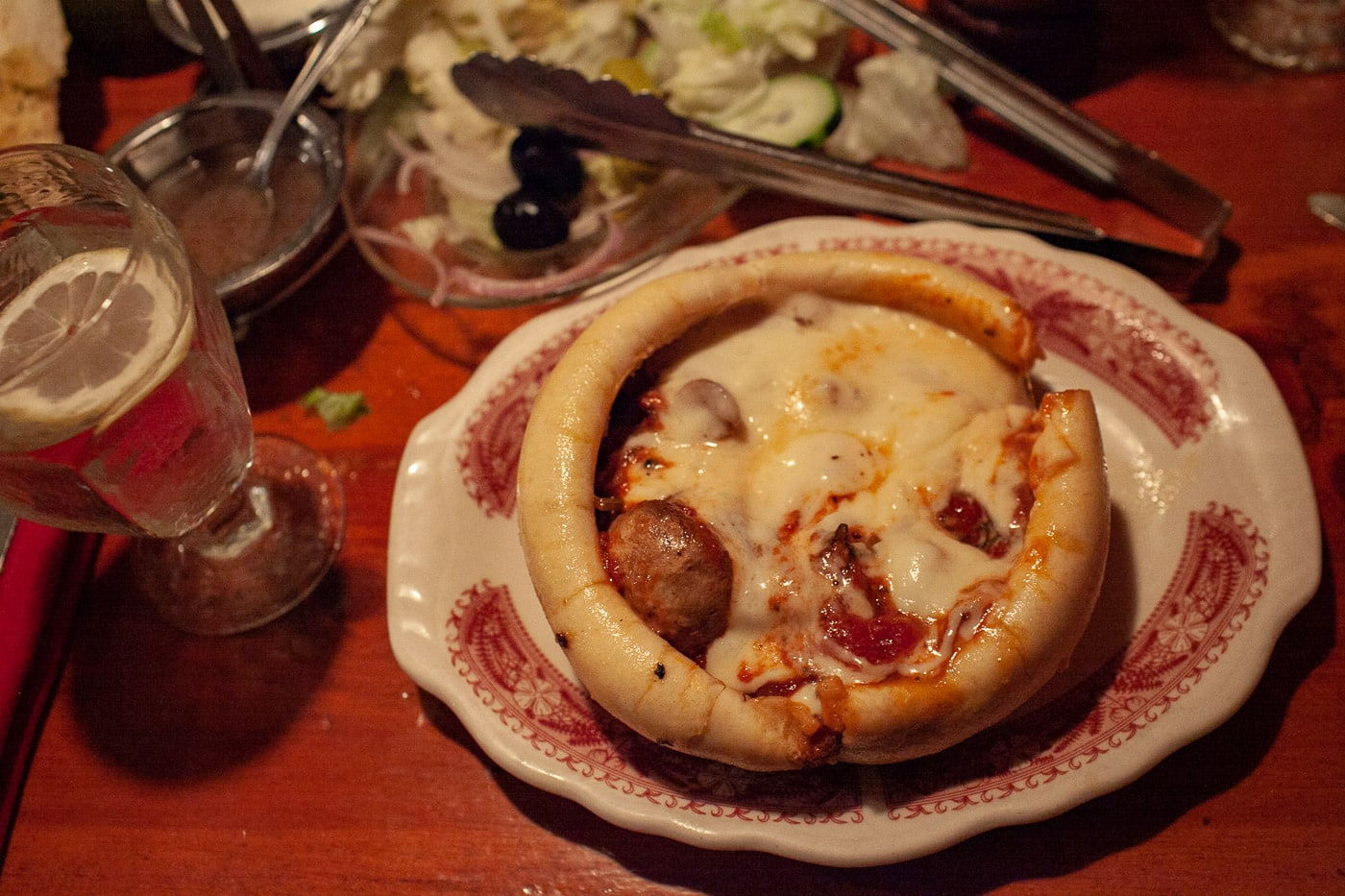 Pizza pot pie at Chicago Pizza and Oven Grinder.