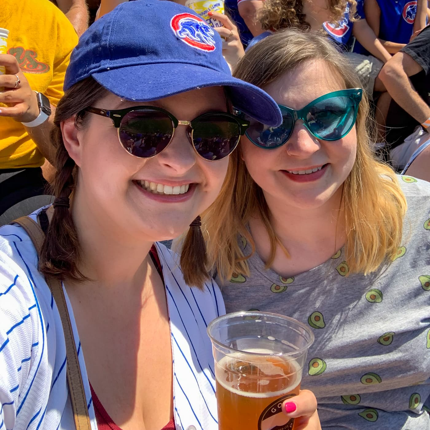 Cubs game with Amanda. No, I do not own a Cubs shirt. Avocados work, right?