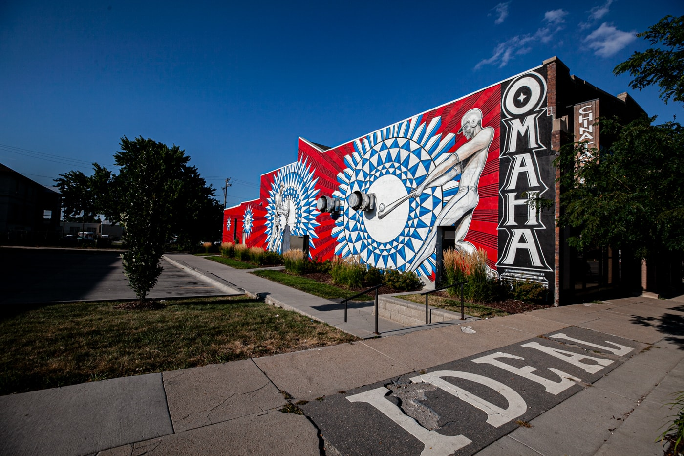 Justin Queal Home Run mural in Omaha, Nebraska - Omaha baseball mural street art