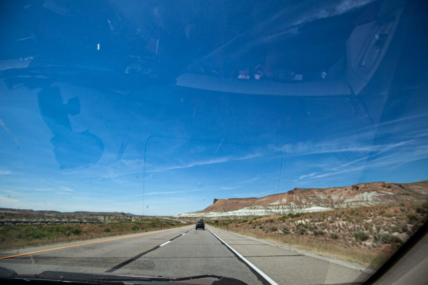 Driving through Wyoming.