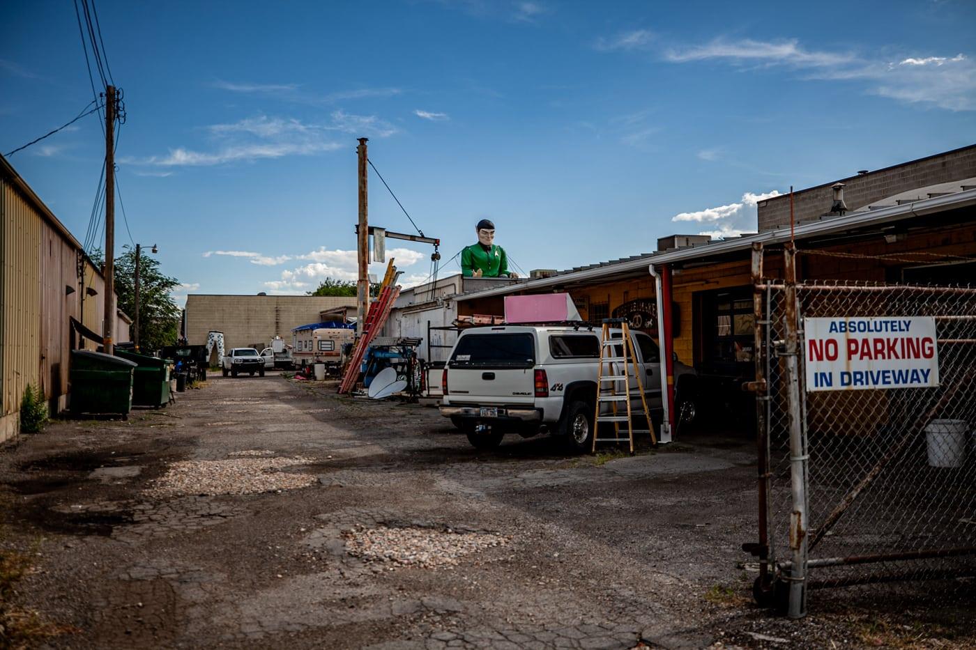 Spock Muffler Man at Rainbow Neon Sign Co. in Salt Lake City, Utah