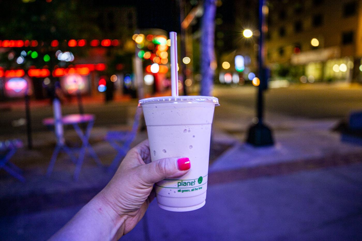 Huckleberry milkshake at Big Dipper Ice Cream in Billings, Montana.