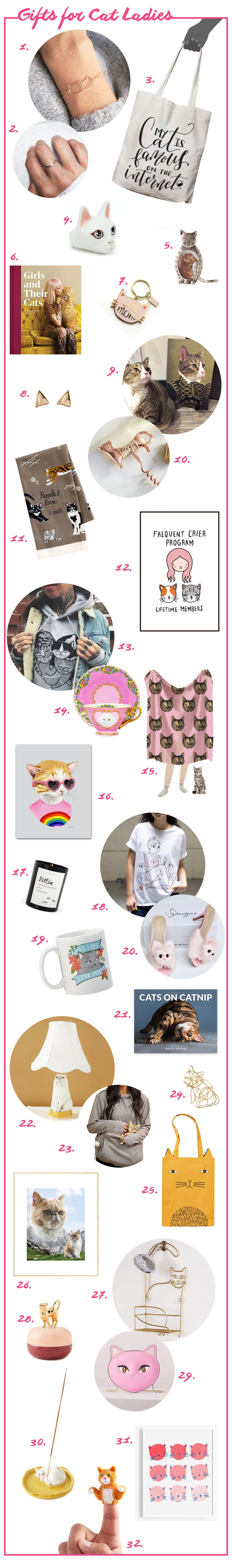 Ridiculous cat gifts for cat ladies and the cats they love. Presents cat people including cat shaped jewelry, custom portraits, cat books, cat mugs, and more.