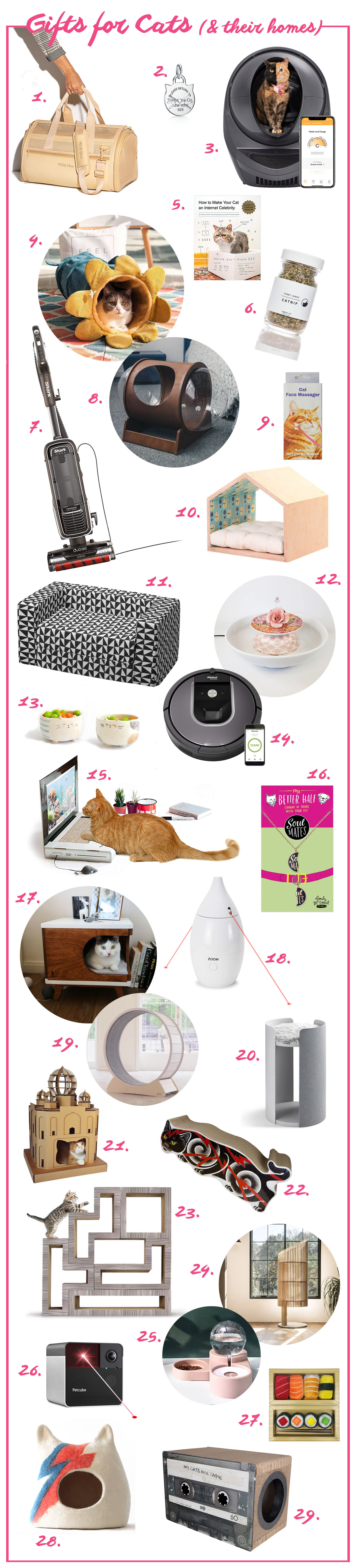 Ridiculous cat gifts for cat ladies and the cats they love. Presents for cats including and cat owners including cat beds, cat trees, water dishes, toys, vacuums, litter robots, roomba, and more.