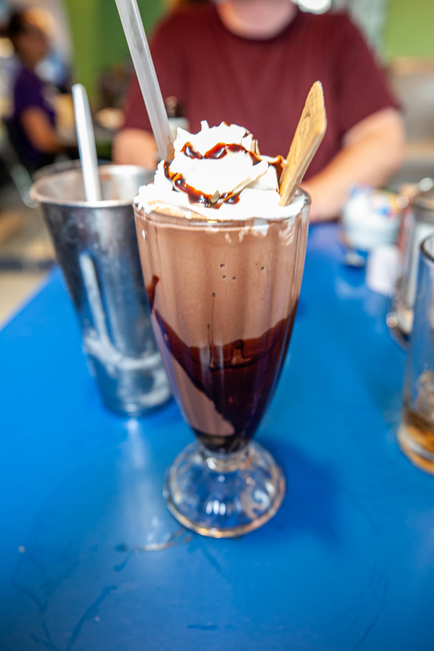 Double chocolate milkshake at Monty's Blue Plate Diner in Madison, Wisconsin.