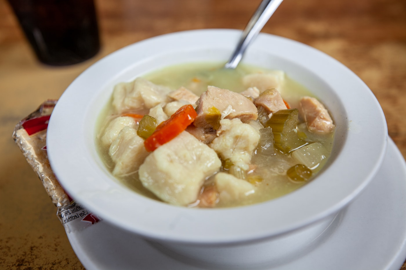 Chicken dumpling soup from 600 Miles Cafe in Miles City, Montana.