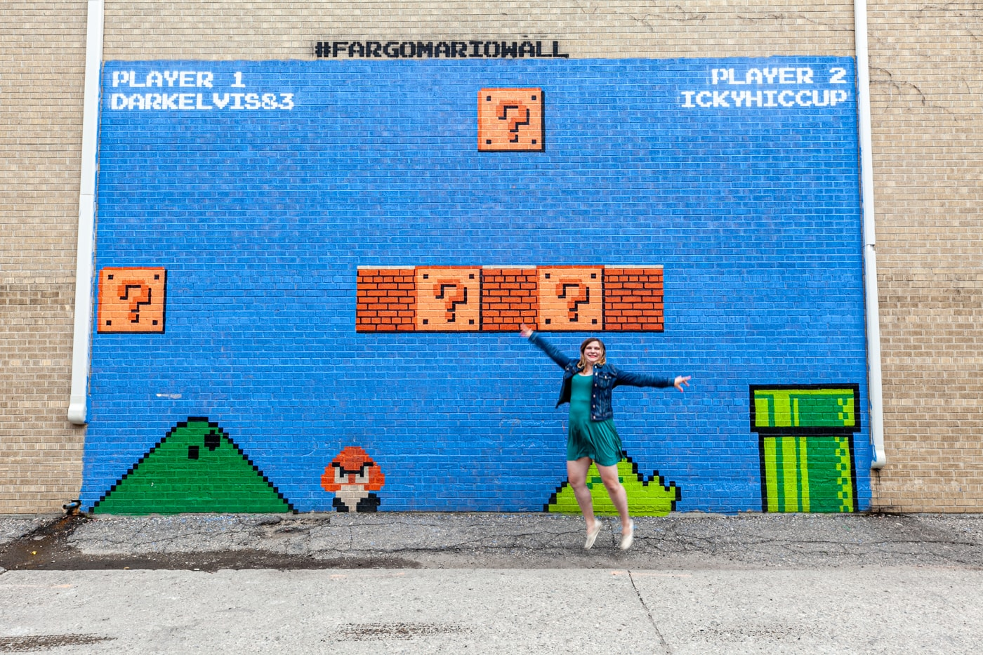 Super Mario Bros mural wall in Fargo, North Dakota.