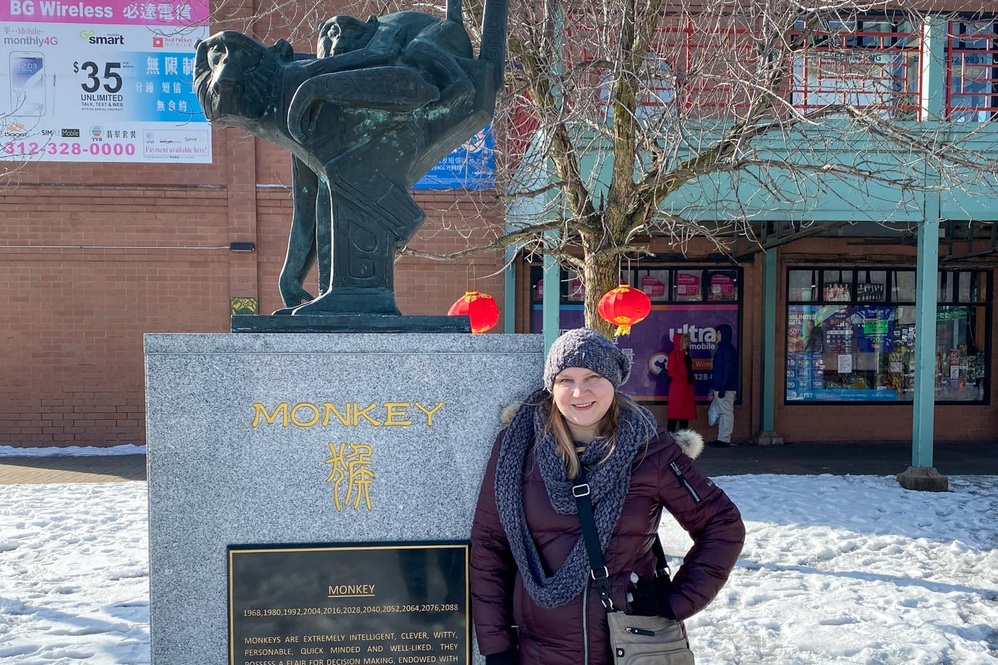 Posing with the Monkey for my birthday in Chinatown in Chicago.