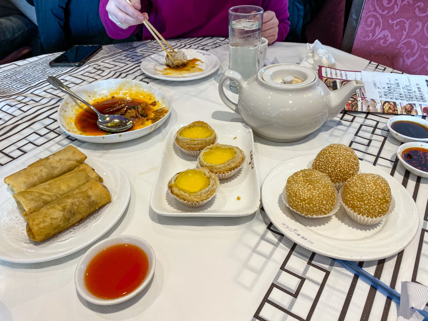 Egg custards, sesame balls, and deep fried spring rolls with taro and chicken at dim sum at Cai in Chinatown in Chicago for my birthday.