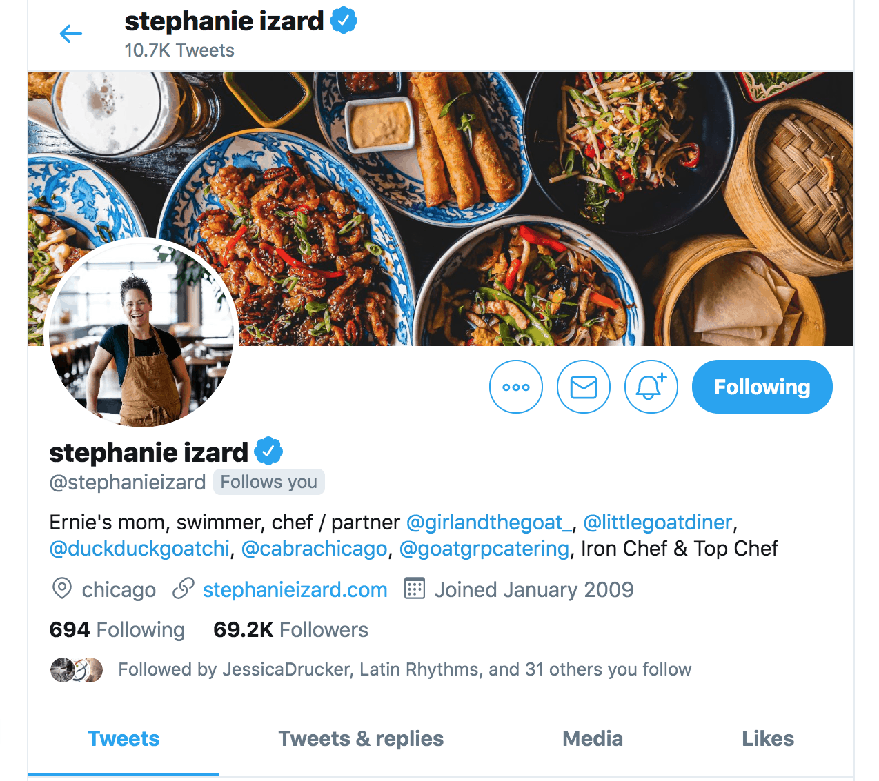 Stephanie Izard follows me on Twitter.